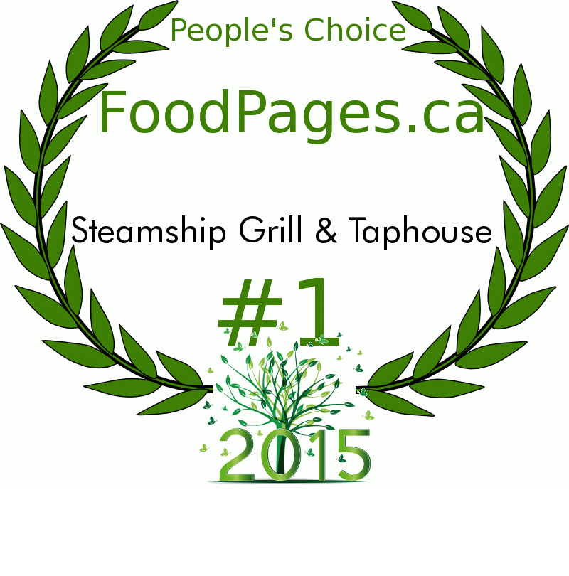 Steamship Grill & Taphouse FoodPages.ca 2015 Award Winner
